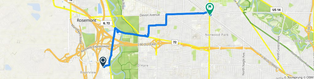 Route to 6340 N Northwest Hwy, Chicago