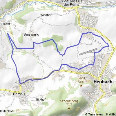Kleine Feierabendrunde: Bargau - Beisswang - Bucherwäldle - Böbingen - Heubach - Bargau