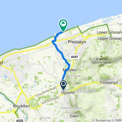 Bryn Dwr, Waterfall Road, Rhyl to 2 Third Ave, Prestatyn