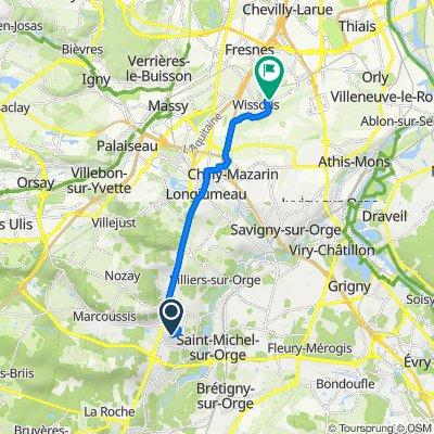 De Chemin de la Motte 11, Montlhéry à Avenue de la Méridienne 2, Wissous