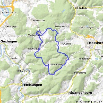Sonntags Familienrunde Wattenbach, Quentel, Günsterrode, Kehrenbach, Eiterhagen und zurück nach Wattenbach mit Abschluß im Waldschlößchen