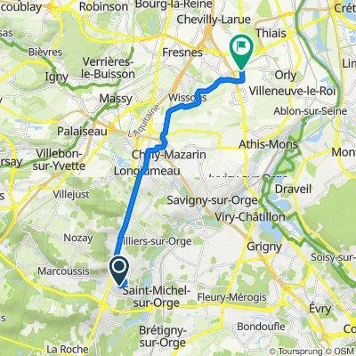 De Chemin de la Motte 11, Montlhéry à Avenue du Maréchal Devaux 3, Paray-Vieille-Poste