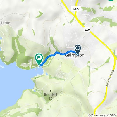 Route from 15–21 Greenway Road, Brixham