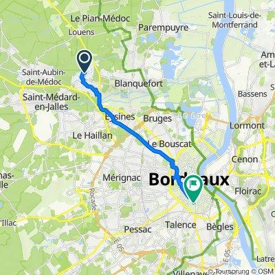 De 93 Avenue du Stade, Le Taillan-Médoc à 80 Rue des Sablières, Bordeaux
