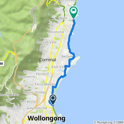 Wollongong Beach to sandon point