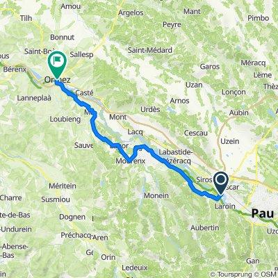 De Avenue du Vert Galant, Lescar à 1–9 Place Brossers, Orthez