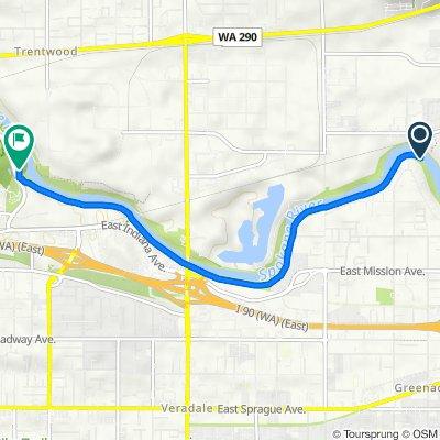Route to 13145–13163 E Mirabeau Pkwy, Spokane Valley