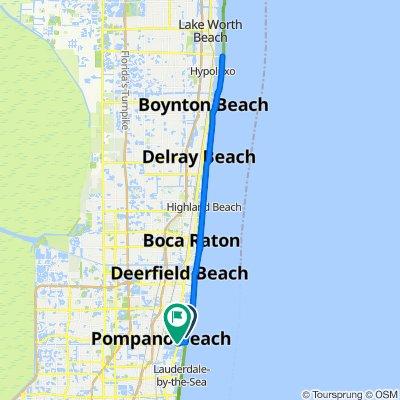 Route from 410 N Pompano Beach Blvd, Pompano Beach