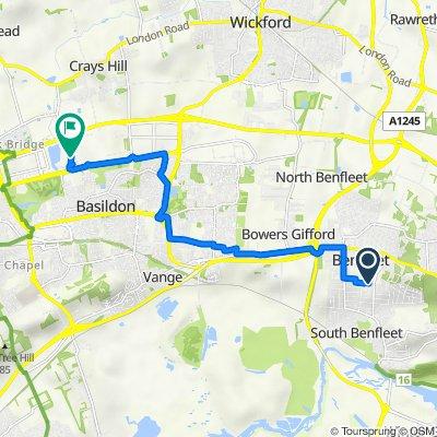 Route from 12 Oakleighs, Benfleet
