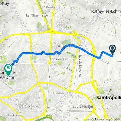 De 26 Rue Au Bouchet, Dijon à 5 Place de l'Hôtel de Ville, Fontaine-lès-Dijon