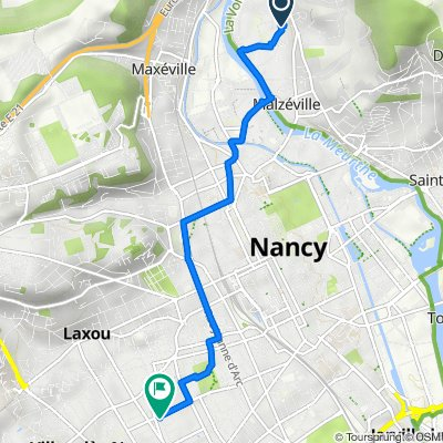De 23 Rue du Vieux Cours, Malzéville à 1 Rue du Général Custine, Nancy