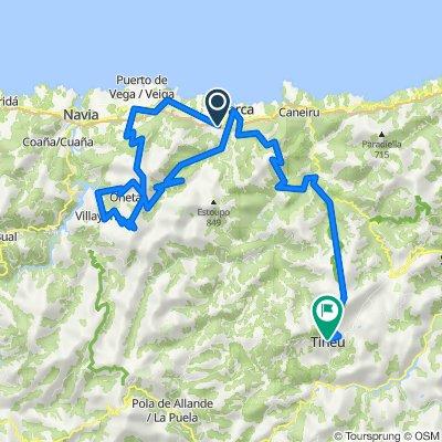 Luarca-Tineo. Con 3300m en 102km