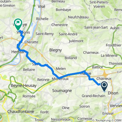De Rue Nicolas Arnold 52, Verviers à Sentier des Trixhes 27, Oupeye