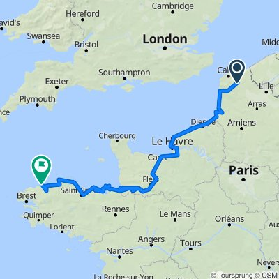 Moulle (62910), Pas-de-Calais, Hauts-de-France, France - Roscoff (29680), Finistère, Bretagne, France