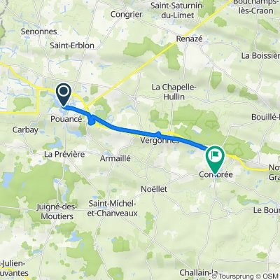 De 2 Rue de la Roche Martin, Pouancé à 11 Résidence du Vieux Collège, Combrée