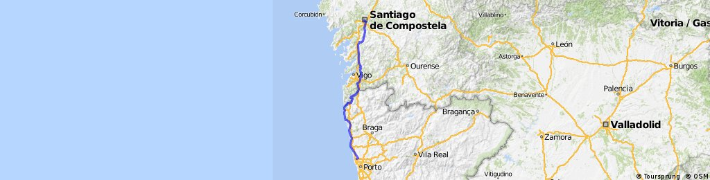 Santiago de Compostela - Porto | Bikemap - Your bike routes on dominican republic map, juarez map, punta arenas map, lima map, san juan map, michoacan map, luanda map, chile map, kingston map, caracas map, kabul map, quito map, buenos aires map, bolivia map, andes map, santo domingo map, south america map, montevideo map, rio de janeiro map, torres del paine map,