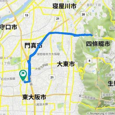 15-24, Inadauemachi 1-Chōme, Higashiosaka to 14-5, Inadauemachi 1-Chōme, Higashiosaka