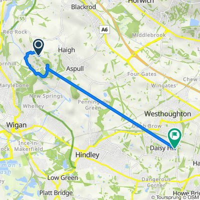 Route to 467 Leigh Road, Bolton