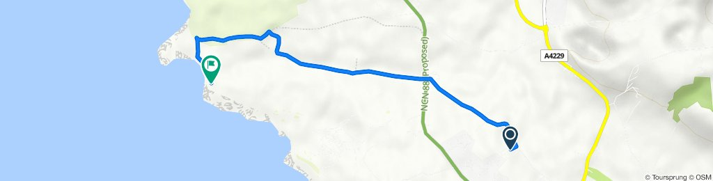 Route from Brodawel Camping And Touring Park, Moor Lane, Porthcawl