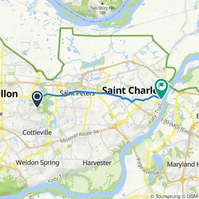 1243 Emerald Gardens Dr, Saint Peters to N Riverside Dr, Saint Charles