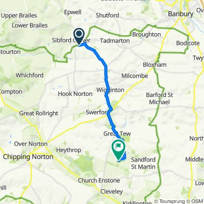 Route from Lions Den, Main St, Banbury