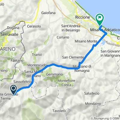 От Via Bellini 24, Меркатино-Конка до Via Tevere 13, Misano Adriatico