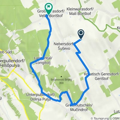 Route nach Oberpullendorfer Straße, Großwarasdorf