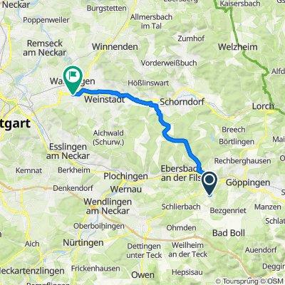 Faurndauer Straße 2, Uhingen nach Nelkenstraße 39, Kernen im Remstal
