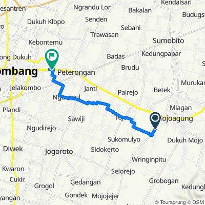 Jalan KH. Asy'ari 59, Kecamatan Mojowarno to Jalan Soekarno - Hatta 16, Kecamatan Peterongan