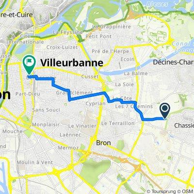 De Chemin des Roberdières, Chassieu à 33B Boulevard des Brotteaux, Lyon