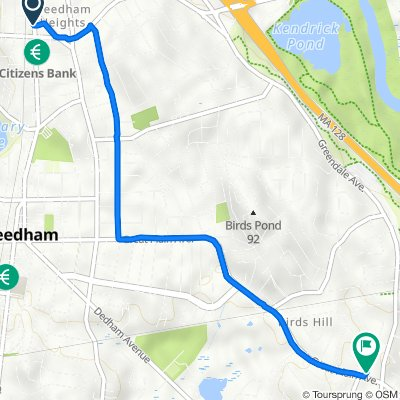 868 Highland Ave, Needham Heights to 5 Fairfield St, Needham