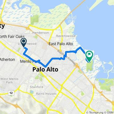 Route to Palo Alto Baylands Trail, Palo Alto