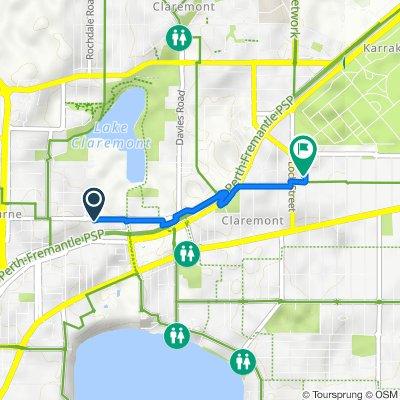 Route to 21 Loftus Street, Nedlands