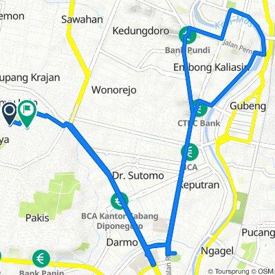 Gang I C/D 8, Kecamatan Sawahan to Banyu Urip Kidul Molin 2b No.50, Kecamatan Sawahan