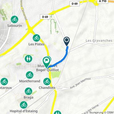 De 30 Boulevard John Fitzgerald Kennedy, Clermont-Ferrand à 1 Rue du Franc Rosier, Clermont-Ferrand