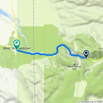 Entrance Rd, Alta to 21 N Canyon St, West Yellowstone