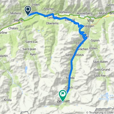 Untere Zellstrasse, Salgesch nach Bachstrasse 4–32, Zermatt