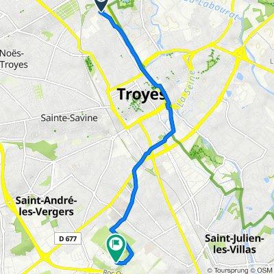 De 163 Rue de Preize, Troyes à Place Léonard de Vinci, Rosières-près-Troyes