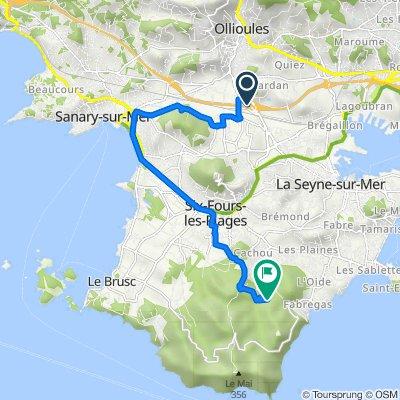 De Chemin de la Capellane 80B, La Seyne-sur-Mer à Route de Janas 1575, La Seyne-sur-Mer