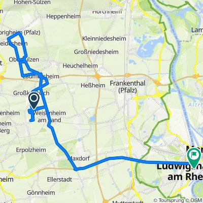 Unnamed Road, Bad Dürkheim nach Bayernstraße 39, Ludwigshafen am Rhein