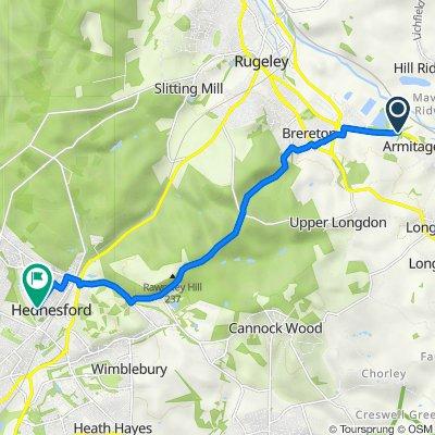 Rugeley Road, Armitage, Rugeley to 8 Meadowbrook Close, Cannock