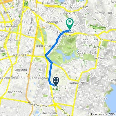 2 High Street, Kensington to Peaker Lane, Woollahra