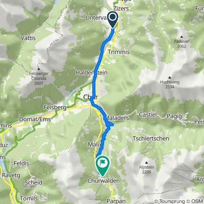 Route nach Hauptstrasse 102, Churwalden