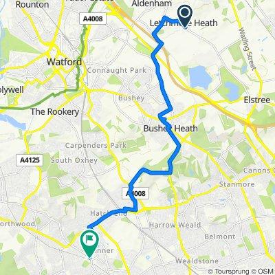The Gn, Aldenham, Watford to 6 Red Lion Parade, Bridge St, Pinner