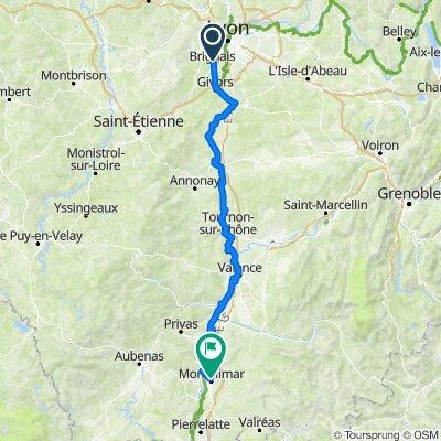 Brignais>Montélimar 180km