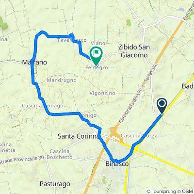 Da Via Alzaia Naviglio Pavese-Moirago, Zibido San Giacomo a Cascina Femegro 2, Zibido San Giacomo