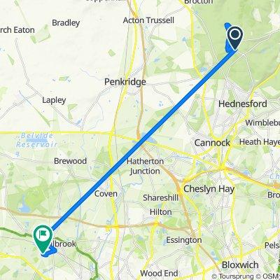 Penkridge Bank Road, Broadhurst Green, Cannock to 17 Poplars Dr, Wolverhampton