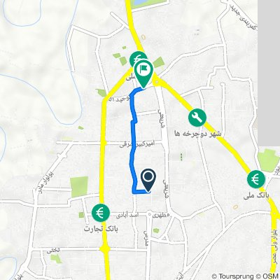 Route from معراج ۱۳, Babol