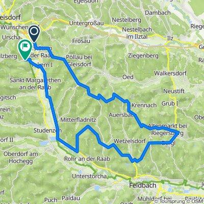 Hofstätten, Riegersburg  und retour 54 km