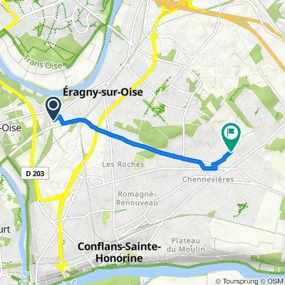 De Neuville RER, Neuville-sur-Oise à Rue des Mésanges 23, Conflans-Sainte-Honorine